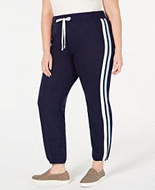 Planet Gold Trendy Plus Size Varsity-Stripe Sweatpants