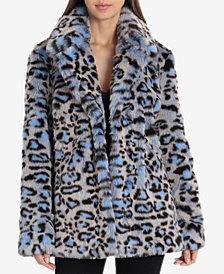 Avec Les Filles Faux-Fur Blue-Leopard-Print Coat