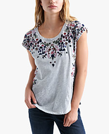 Lucky Brand Flower-Embroidered T-Shirt