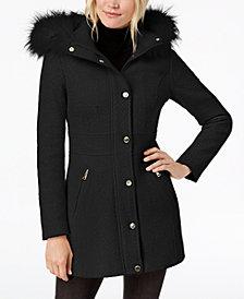 I.N.C. Faux-Fur-Trim Woven Coat, Created for Macy's