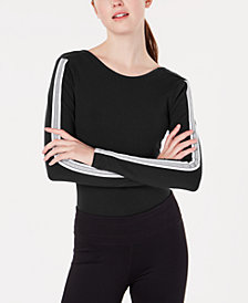 Material Girl Active Juniors' Sporty Striped Bodysuit, Created for Macy's