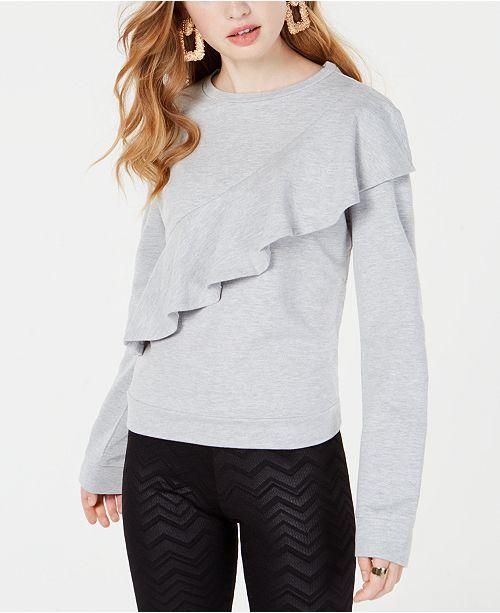 Material Girl Juniors' Ruffled Sweatshirt, Created for Macy's
