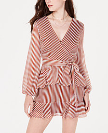 Material Girl Juniors' Striped Ruffled Wrap Dress, Created for Macy's