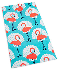 "Martha Stewart Collection Seashell Flamingo 38"" x 68"" Beach Towel, Created for Macy's"