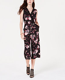 Material Girl Juniors' Lace & Floral Gaucho Jumpsuit, Created for Macy's