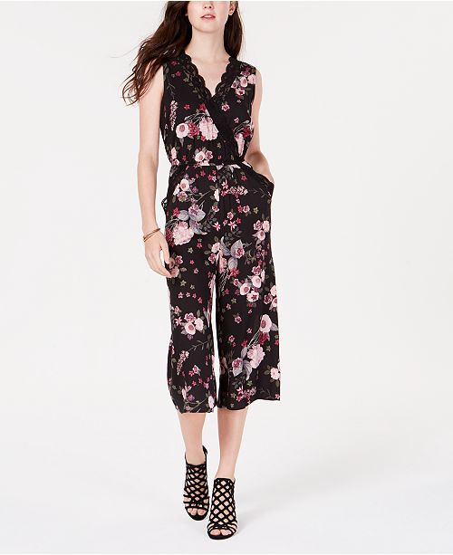 a80c7157cb7 ... Material Girl Juniors  Lace   Floral Gaucho Jumpsuit