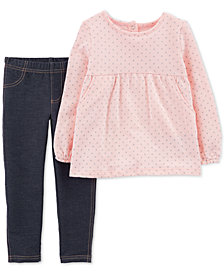 Carter's Toddler Girls 2-Pc. Dot-Print Tunic & Denim Leggings Set