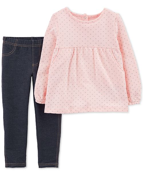 2d30ad68d49fa Carter's Toddler Girls 2-Pc. Dot-Print Tunic & Denim Leggings Set ...
