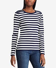Lauren Ralph Lauren Zipper-Trim Long-Sleeve Striped Top
