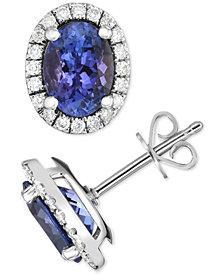 Tanzanite (3 ct. t.w.) & Diamond (1/3 ct. t.w.) Stud Earrings in 14k White Gold