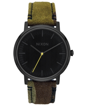 Nixon Watches MEN'S PORTER LEATHER STRAP WATCH 40MM A1058
