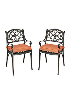 Home Styles Biscayne Rust Bronze Arm Chairs with Cushions, Set of 2