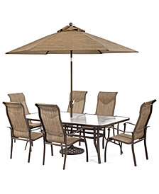 "CLOSEOUT! Oasis Outdoor Aluminum 7-Pc. Dining Set (84"" x 42"" Dining Table and 6 Dining Chairs), Created for Macy's"