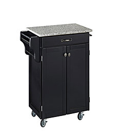 Home Styles Cuisine Cart Black Finish Salt and Pepper Granite Top