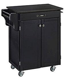 Home Styles Cuisine Cart Black Finish Black Granite Top