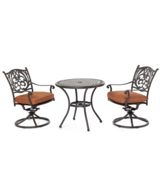 "Chateau Outdoor Cast Aluminum 3-Pc. Dining Set (32"" Round Cafe Table and 2 Swivel Rockers), Created for Macy's"