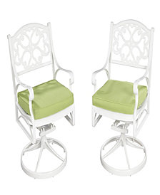 Home Styles Biscayne Swivel Chair White Finish with Cushion