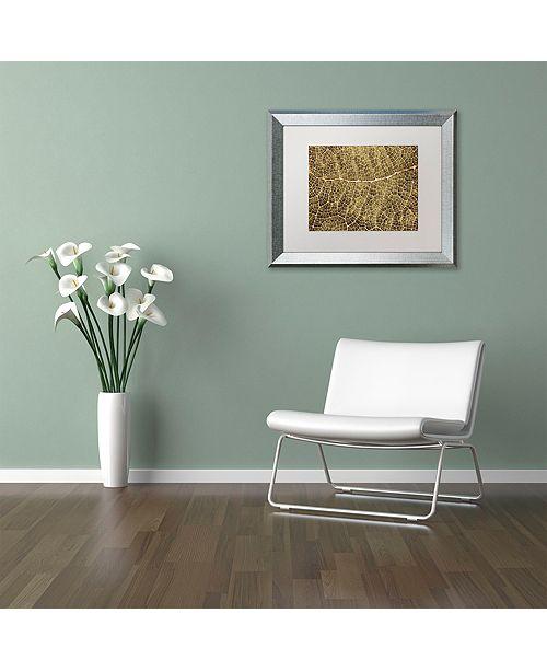 "Trademark Global Cora Niele 'Sepia Leaf Texture' Matted Framed Art, 11"" x 14"""