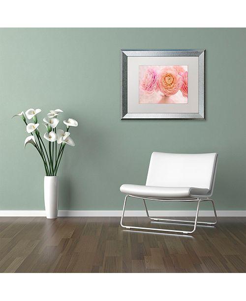 """Trademark Global Cora Niele 'Pink Persian Buttercup Bouquet' Matted Framed Art, 11"""" x 14"""""""