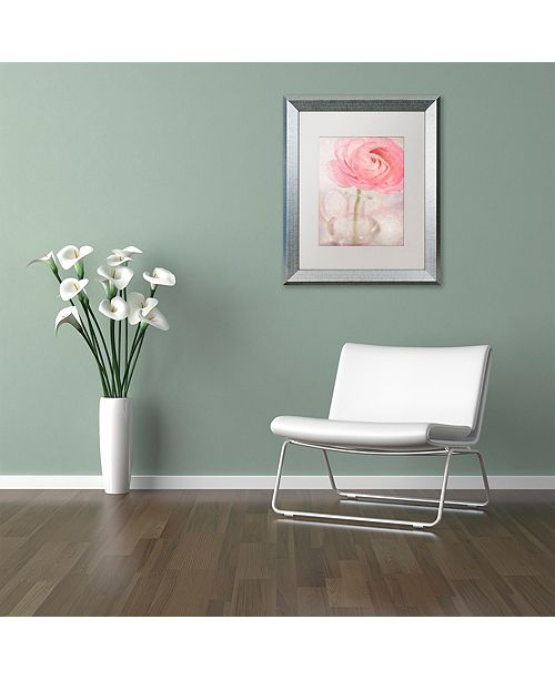 "Trademark Global Cora Niele 'Single Rose Pink Flower' Matted Framed Art, 16"" x 20"""
