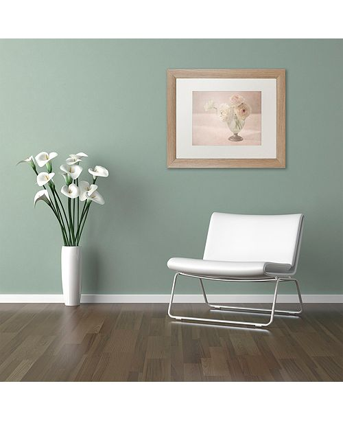 "Trademark Global Cora Niele 'White Persian Buttercups Posy' Matted Framed Art, 11"" x 14"""