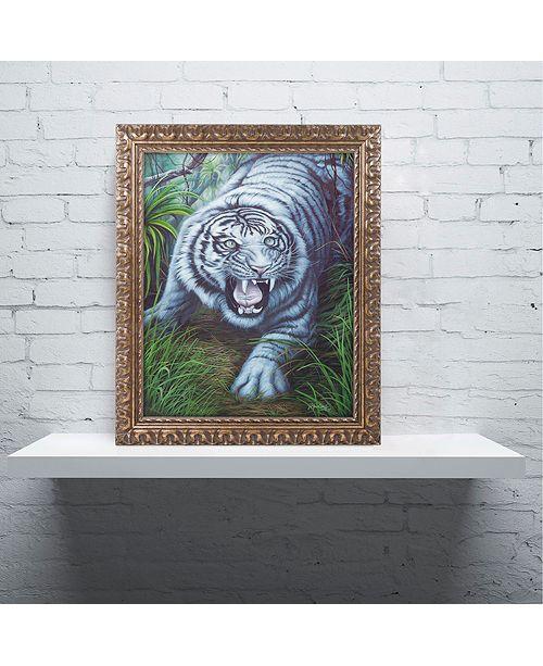 """Trademark Global Jenny Newland 'White Tiger' Ornate Framed Art, 11"""" x 14"""""""