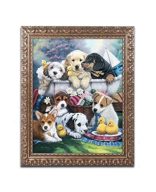 "Trademark Global Jenny Newland 'Bath Time Pups' Ornate Framed Art, 11"" x 14"""