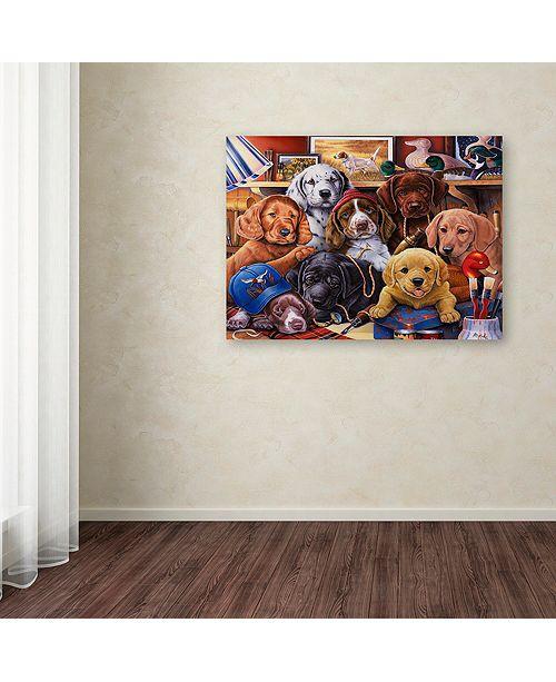 "Trademark Global Jenny Newland 'Grandpa's Puppies' Canvas Art, 18"" x 24"""