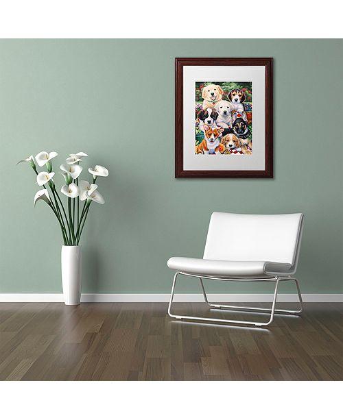 """Trademark Global Jenny Newland 'Garden Puppies' Matted Framed Art, 11"""" x 14"""""""