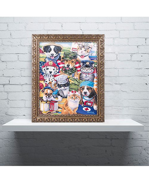 "Trademark Global Jenny Newland 'Working Paws' Ornate Framed Art, 11"" x 14"""