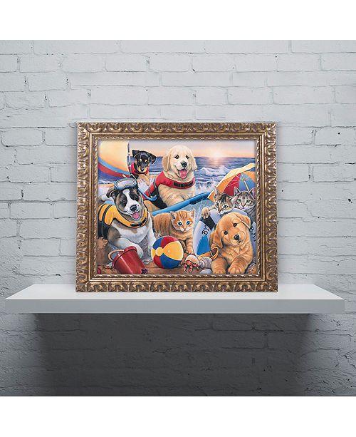 "Trademark Global Jenny Newland 'Beach Buddies' Ornate Framed Art, 16"" x 20"""
