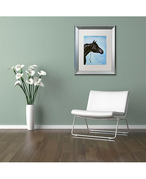 "Trademark Global Jenny Newland 'Black Arabian' Matted Framed Art, 11"" x 14"""