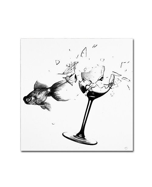 "Trademark Global Nick Bantock 'Fish & Wine Glass' Canvas Art, 18"" x 18"""