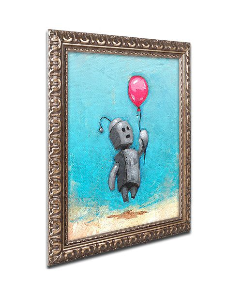 "Trademark Global Craig Snodgrass 'Robot With Red Balloon' Ornate Framed Art, 11"" x 14"""