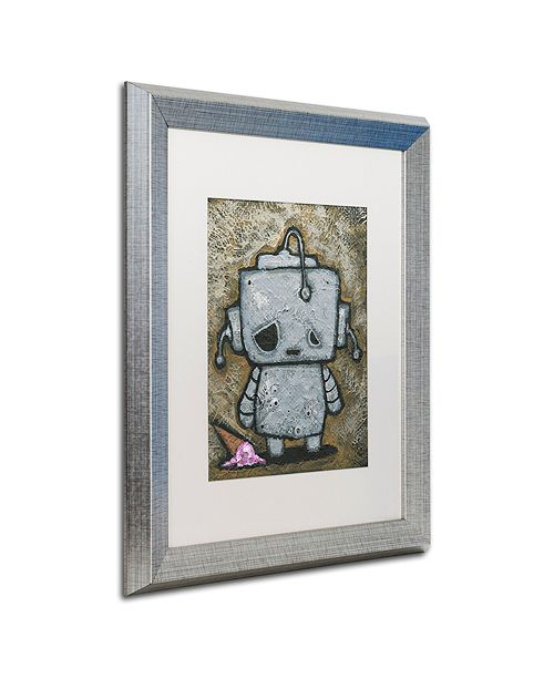 "Trademark Global Craig Snodgrass 'Weebot-Icecream' Matted Framed Art, 16"" x 20"""