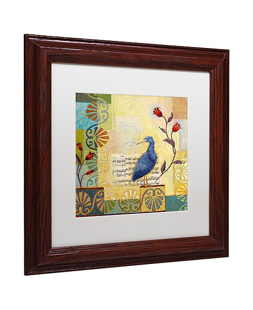 "Trademark Global Rachel Paxton 'Sandy Pond Heron' Matted Framed Art, 11"" x 11"""