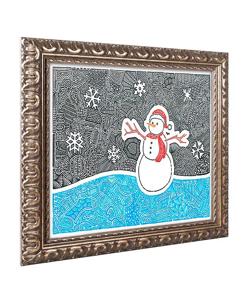"Trademark Global Viz Art Ink 'Let It Snow' Ornate Framed Art, 11"" x 14"""