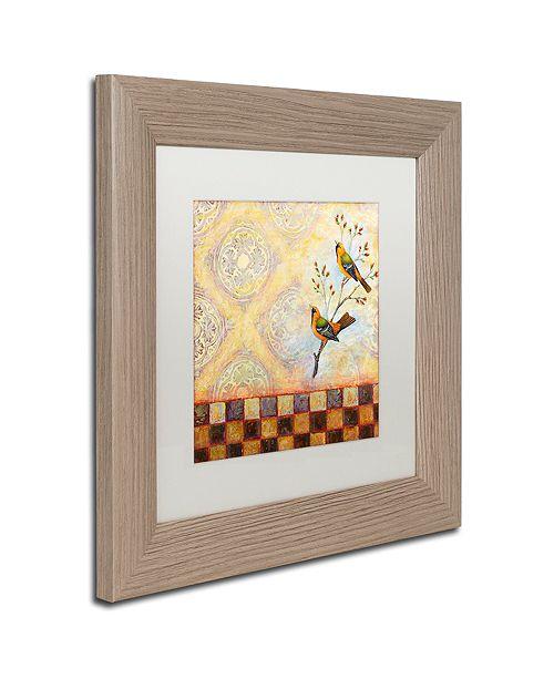 """Trademark Global Rachel Paxton 'Birds and Tiles' Matted Framed Art, 11"""" x 11"""""""
