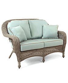 Sandy Cove Wicker Outdoor Loveseat, with Sunbrella® Cushions, Created for Macy's