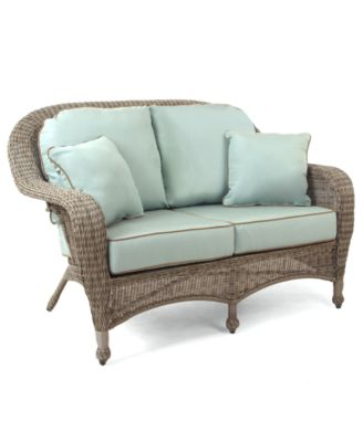 Lovely Sandy Cove Wicker Outdoor Loveseat