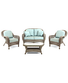 Sandy Cove Outdoor Wicker 4-Pc. Seating Set (1 Loveseat, 2 Club Chairs and 1 Coffee Table), Created for Macy's