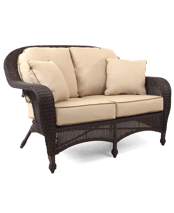 Furniture Monterey Wicker Outdoor Loveseat, with Sunbrella® Cushions, Created for Macy's