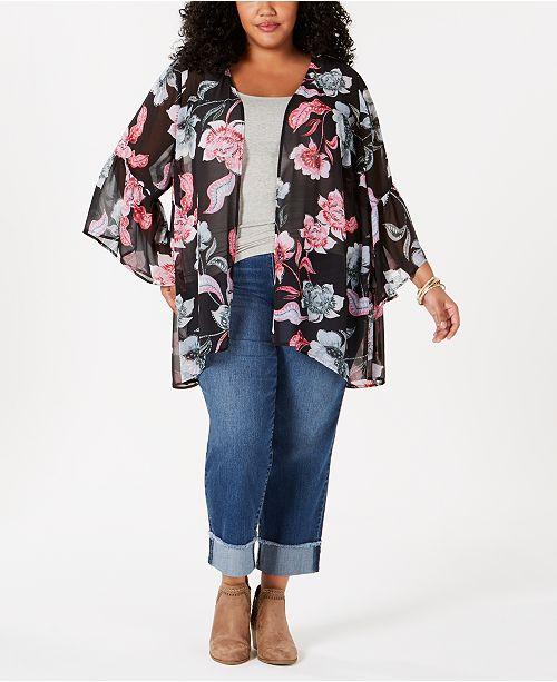 9133adb715f Style   Co Plus Size Printed Kimono