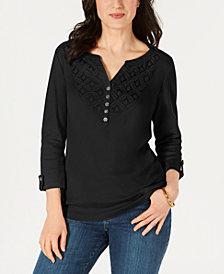 Karen Scott Petite Cotton Crochet-Trim Henley Top, Created for Macy's