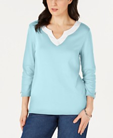 Karen Scott Cotton Split-Neck Tab-Sleeve Top, Created for Macy's