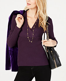 INC Ribbed Surplice Sweater, Created for Macy's