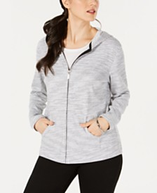 Karen Scott Petite Striped Hoodie Jacket, Created for Macy's