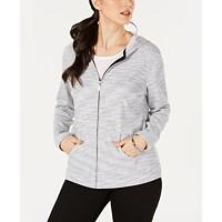 Deals on Karen Scott Womens Petite Striped Hoodie Jacket