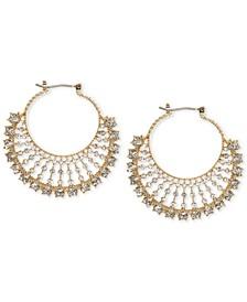Gold-Tone Crystal Fan Small Hoop Earrings  s