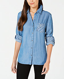 Style & Co Petite Denim Utility Shirt, Created for Macy's